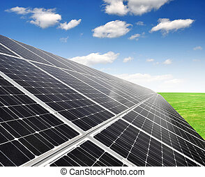 Solar energy panels on blue sky