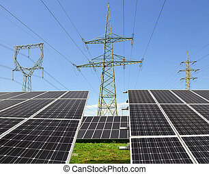 Solar energy panels with electricity pylons