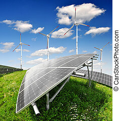 Solar energy panels with wind turbi