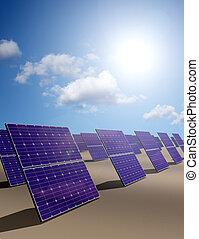 Solar energy park in desert - Solar energy panel with sky...