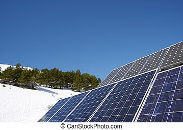 Solar Energy - Photovoltaic panels on the roof of a hut in...