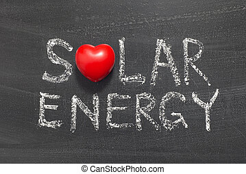 solar energy phrase handwritten on school blackboard