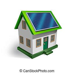 Solar Energy - Solar energy house symbol on a white...