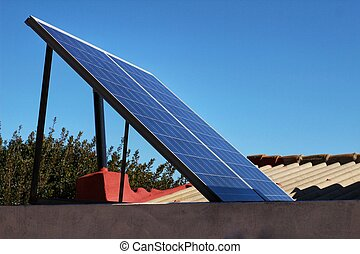 Solar energy plates on the roof