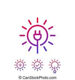 Solar energy, sun and electric plug, vector icons