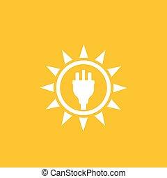 Solar energy, sun and electric plug, vector logo