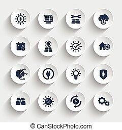 Solar energy, sun powered energetics icons set - Solar ...