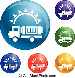 Solar energy truck icons set vector