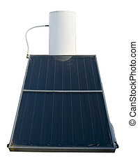 solar energy water heater isolated on white