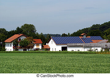solar farm - a farm with a photovoltaic power plant