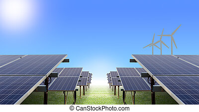 solar farm and wind turbine on ground and blue sky, concept...