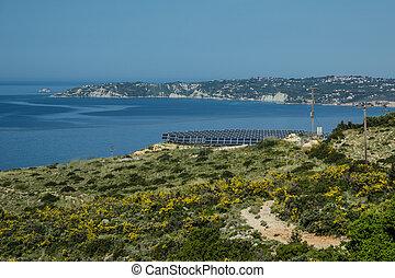 Solar farm on a hill on the island of Kefalonia.