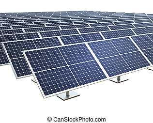 Solar farm on white background.