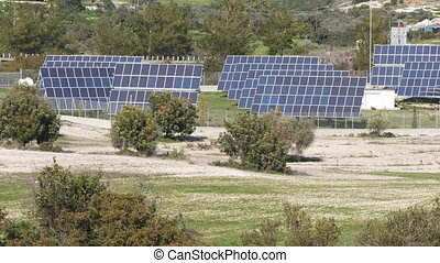 Solar farm panels green energy concept