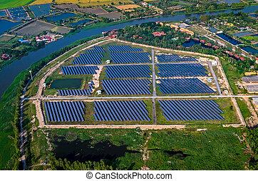 Solar farm, solar panels aerial photography - Solar farm...