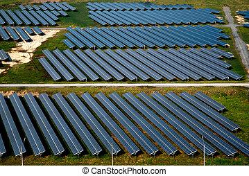 Solar farm, solar panels