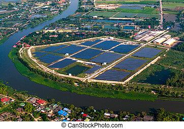 Solar farm solar panels aerial view - Solar farm solar...
