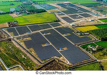 Solar farm, solar panels from the air