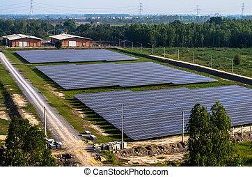 Solar farm, solar panels from the air - Solar farm, solar...