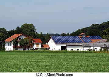 solar farm - a farm with a photovoltaic power plant