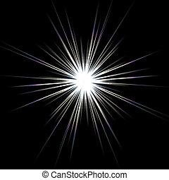 Solar Flare Star Burst - A bright solar flare over a black...
