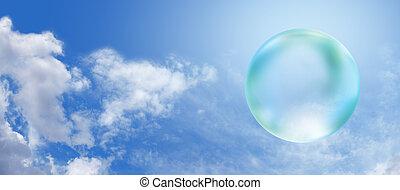 Solar Green Bubble on blue sky bann