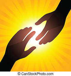 Solar handshake. Symbol of care. Illustration for your...