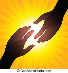 Solar handshake. Symbol of care. Illustration for your...