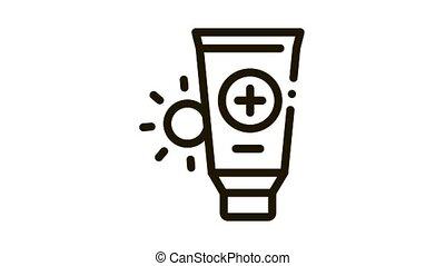 Solar Healthcare Gel Icon Animation. black Solar Healthcare Gel animated icon on white background
