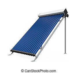 Solar Heat Pipe Collector isolated on white background. 3D...