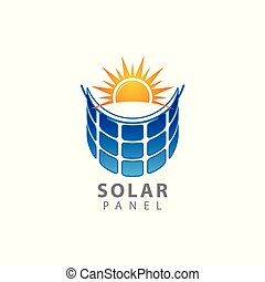 Solar home logo template. Solar panel and sun vector design. Renewable energy illustration