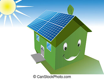 solar house - vector happy green house with solar system ...