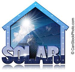 Solar House with Solar Panel