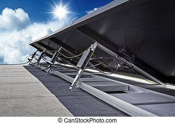 solar, isolado, -, lado, costas, painéis