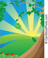Solar landscape with apple