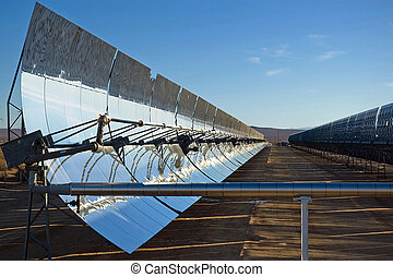 Solar Mirrors - A row of mirrors at a solar energy station ...