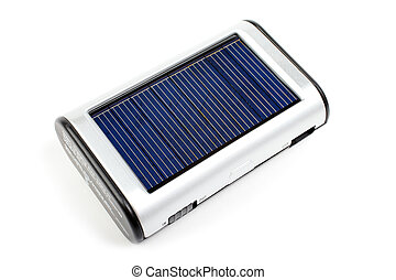 Solar mobile phone charger isolated on white background.