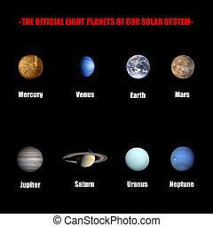 solar, oficial, sistema, oito, planetas, nosso