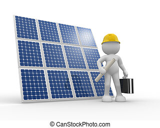 Solar panel - 3d people - human character , person with...