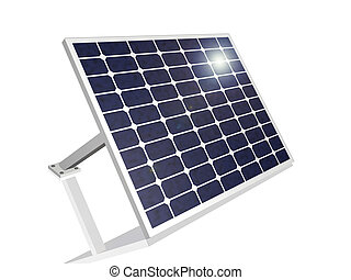 Solar Panel - 3D solar panel with sun's reflection.