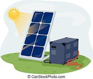 Solar Panel Adaptor - Illustration of a Solar Panel Getting...