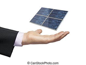 solar panel, affärsman