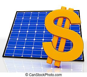 Solar Panel And Dollar Sign Shows Saving Energy