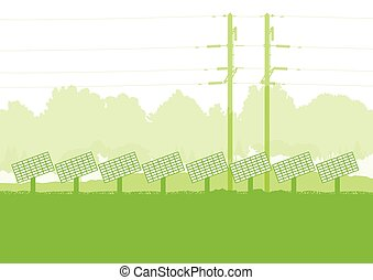 Solar panel and high voltage towers vector background ecology green