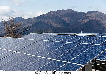 Solar Panel and mountain range