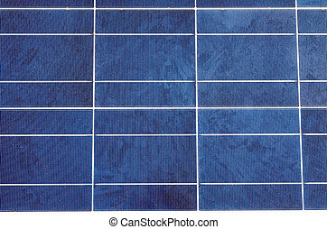 Solar panel and polycrystalline photovoltaic cells - Closeup...
