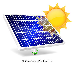 Solar Panel And Sun icon. Vector illustration EPS10.