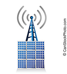 solar panel and wifi tower illustration design over white