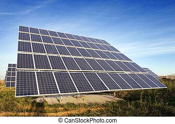 Solar panel - Background: closeup view of solar panels. ...