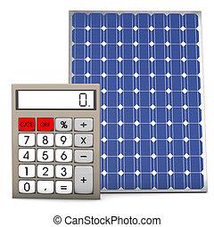 Solar Panel Calculator - Calculator with solar panel on the...
